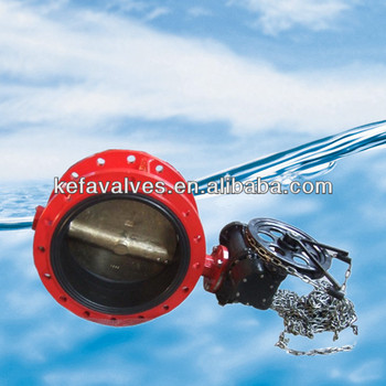 Double flanged butterfly valve with chain