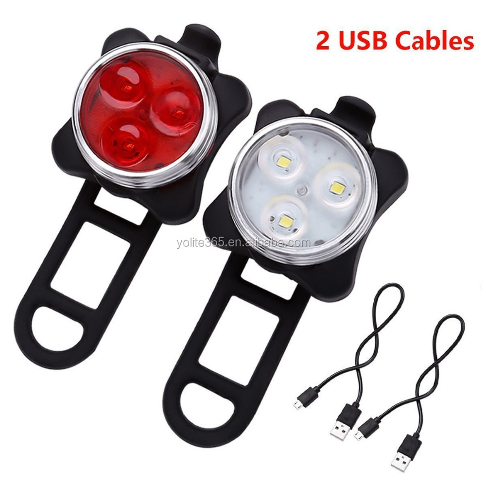 Mounted on Bike As Tail or Front Light USB Rechargeable 2 LED Color Safety Helmet Warning
