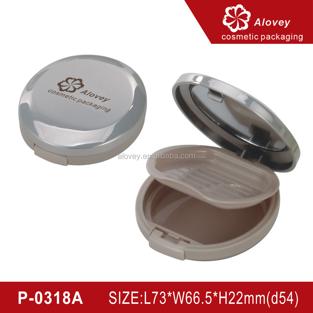 Silver Matte Round mirror empty compact powder container
