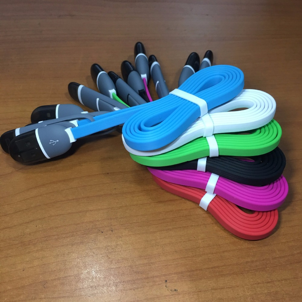 50pcs/lot Universal 1M TPE Best Quality Cheap USB Charging Date Cable For Iphone and Samsung IOS Android 2 In 1