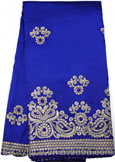 Royal blue heavy indian george lace fabric for party