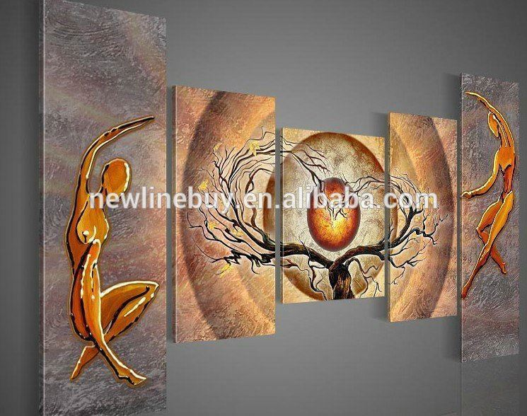 Free shipping wall art Orange trees dancing home decoration abstract Landscape hand oil painting art <strong>picture</strong> on canvas 5pcs/set