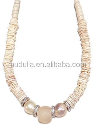 N17061401-14 Organic Elegance Necklace Short ostrich egg shell necklace with blush recycled glass focal bead on leather tie