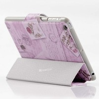 Three folded smart cover case for apple ipad mini laptop leather standing up pouch case