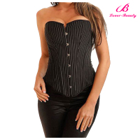 Black overbust pinstripe japanese elastic corsets for busty women