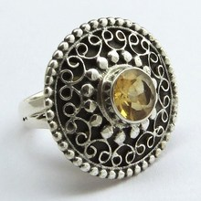 New Design Yellow Citrine 925 Sterling Silver Bezel Setting Ring