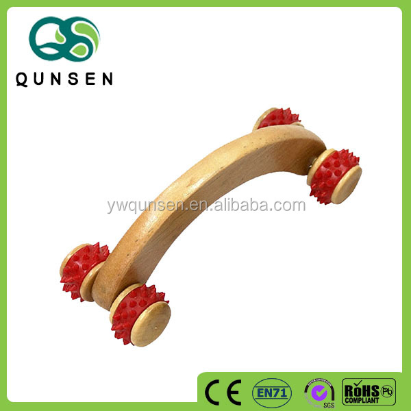 4 rows wooden and rubber handheld body massager