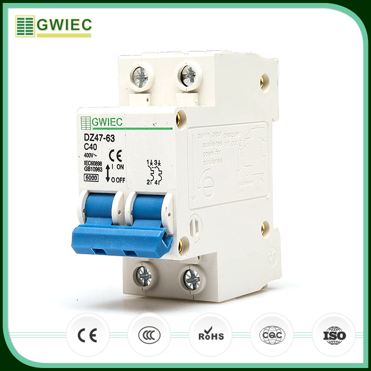 GWIEC China Cheap Price C45N 20 Amp 2 Pole MCB Miniature Circuit Breaker IP20