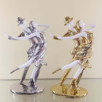polyresin pure hand made abstract dancing man and girl figure for table sculpture