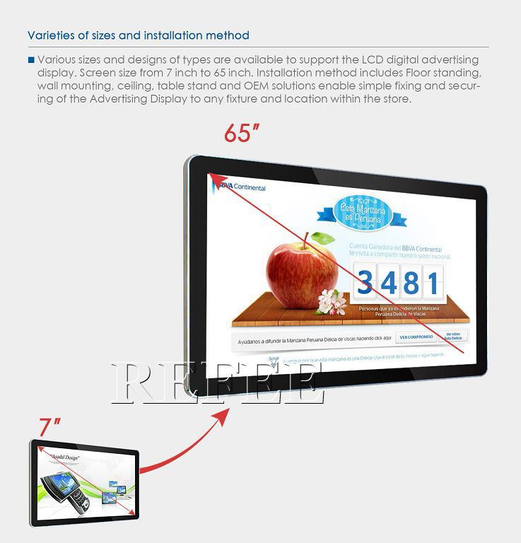 7inch to 65inch WIFI Touch Screen Digital Sign/wall mounted lcd display board