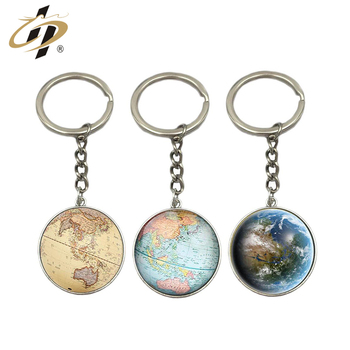 Double side round metal custom made world map logo keychains with epoxy