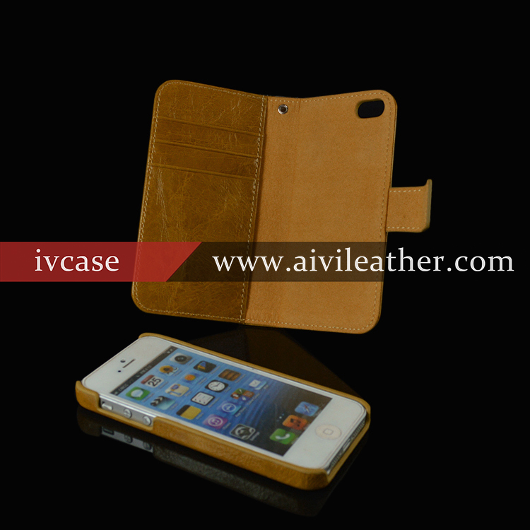 detachable wallet leather case for iphone 5,double sided case for iphone 5 cute bookstyle case