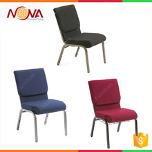 hotsale high quality wholesale modern stacking padded interlocking cheap used metal church hall chair for thear furniture