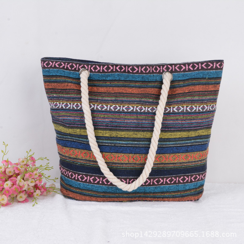 Fashion Inida ethnic trend strap rope handle tote beach bag