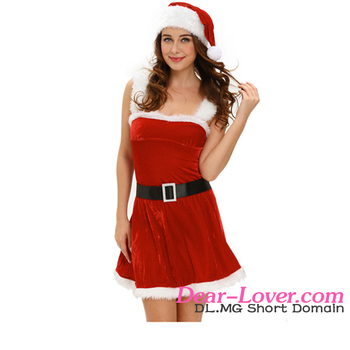 Christmas Holiday Hot Adult Women Red Deluxe Jingle Sexy Santa Claus Costume