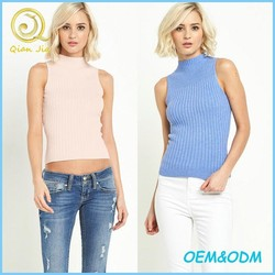 Women Clothing Basic Wear High Neck Knit Rib Top Wholesale