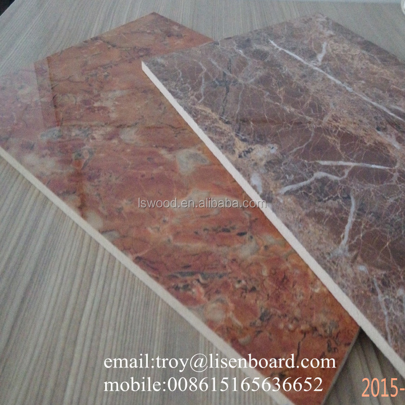 marble color high gloss melamine mdf board 18mm