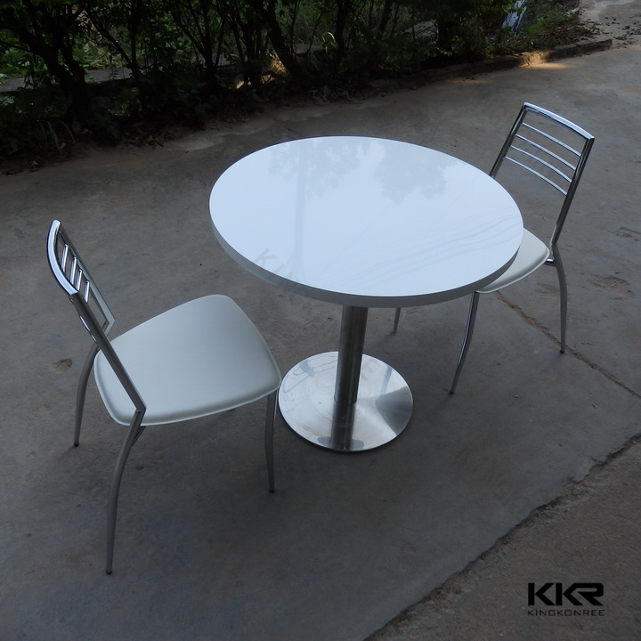 white round cultured marble solid surface marble top and metal leg dining table buy white. Black Bedroom Furniture Sets. Home Design Ideas