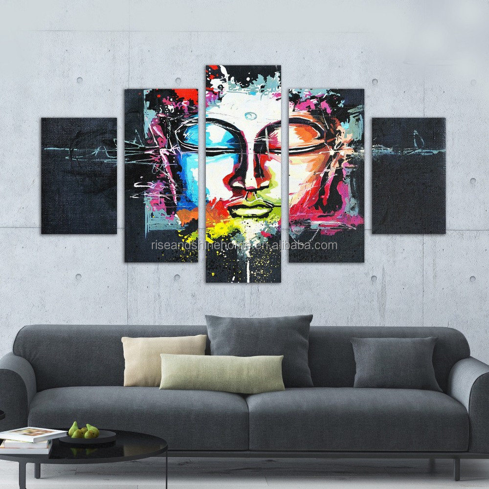 Wholesale modern abstract buddha decorative oil painting on canvas