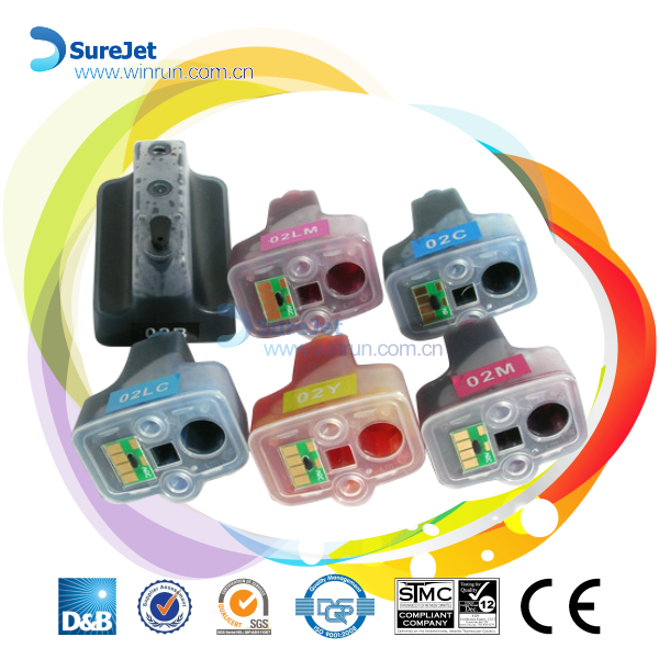Surejet refillable ink cartridge H801 for HP photosmart printer auto reset chip