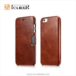 Full Grain Leather Magnetic Book Case For Iphone6