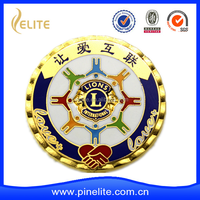 Hot sell new product 3D badge for lion club, soft enamel custom metal badges