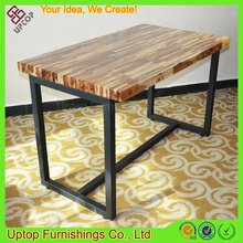 (SP-RT465) High end Black metal Frame rectangle Wood dinning table