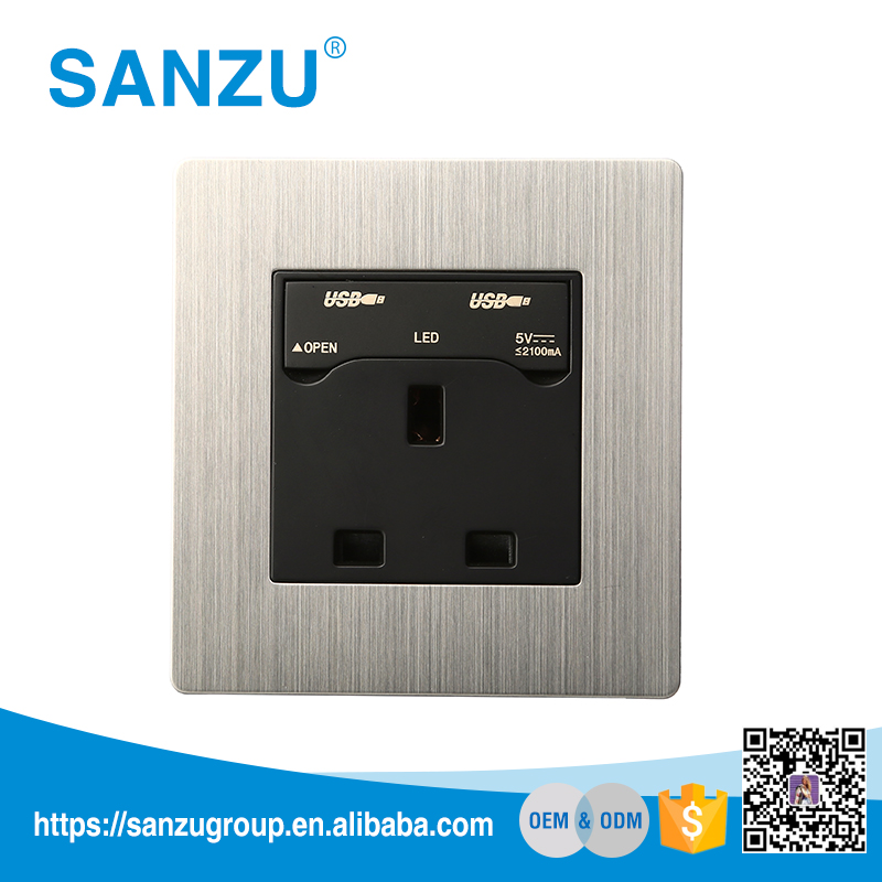 Promotion 13A electric wall switch socket for home, wall switch socket with usb port