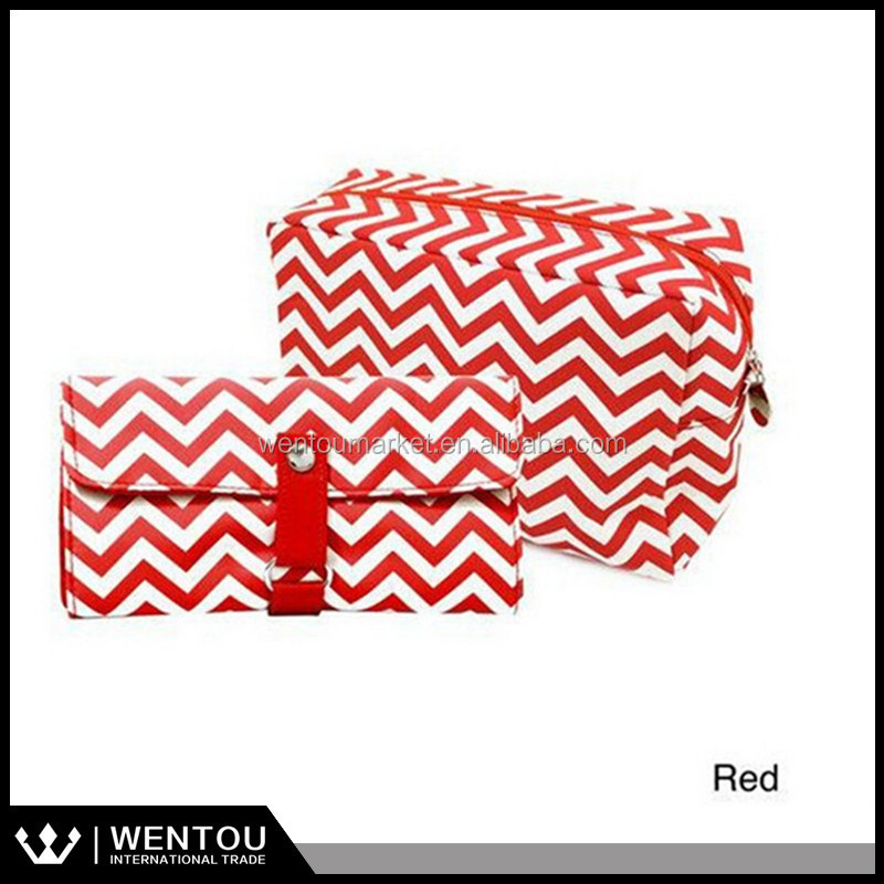 Chevron Storage Monogrammed Make Up Bag