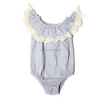 Wholesale solid gray baby clothes with cream lace ruffle baby romper