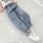 New Fashion Girls Spring High Waist Denim Pants Kids Korean Design Loose Jeans