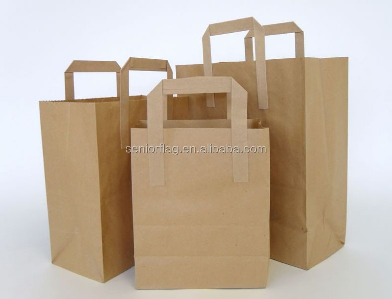 Brown color paper tote bag with handle