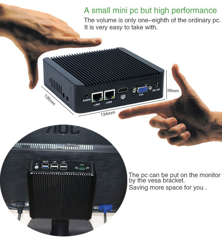 Cheap Intel Celeron J1900 X86 Windows Fanless 2 Ethernet Mini PC