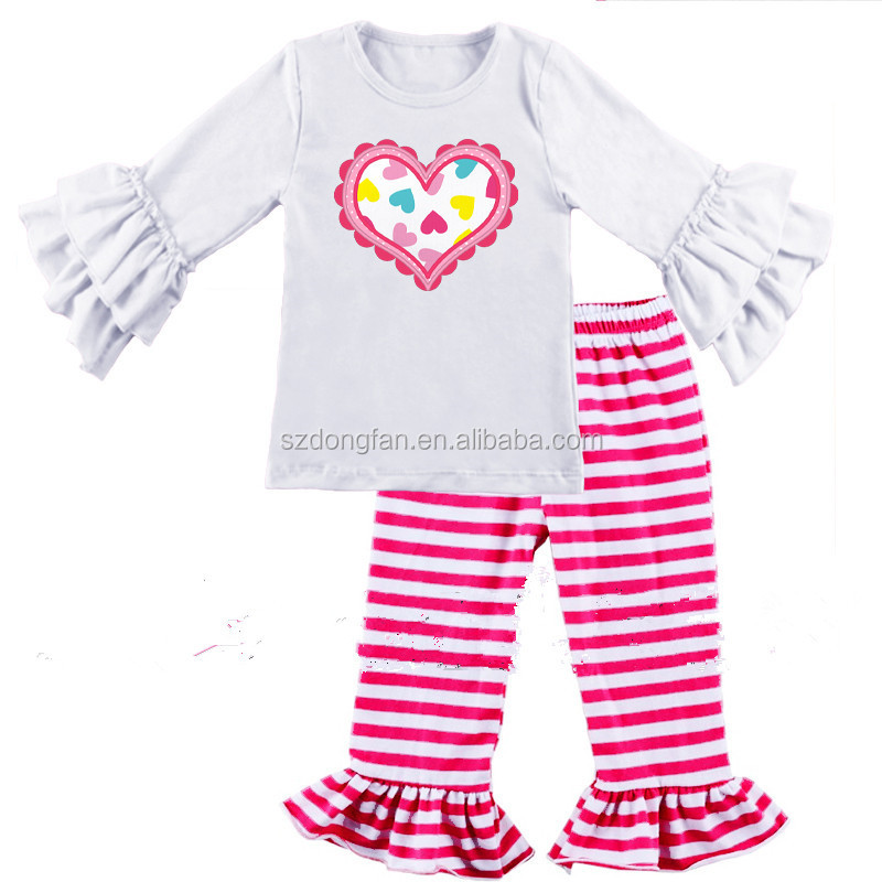 new fashion High quality Love shirt matching white stripe red ruffle pants boutique valentine's day outfits holiday clothing