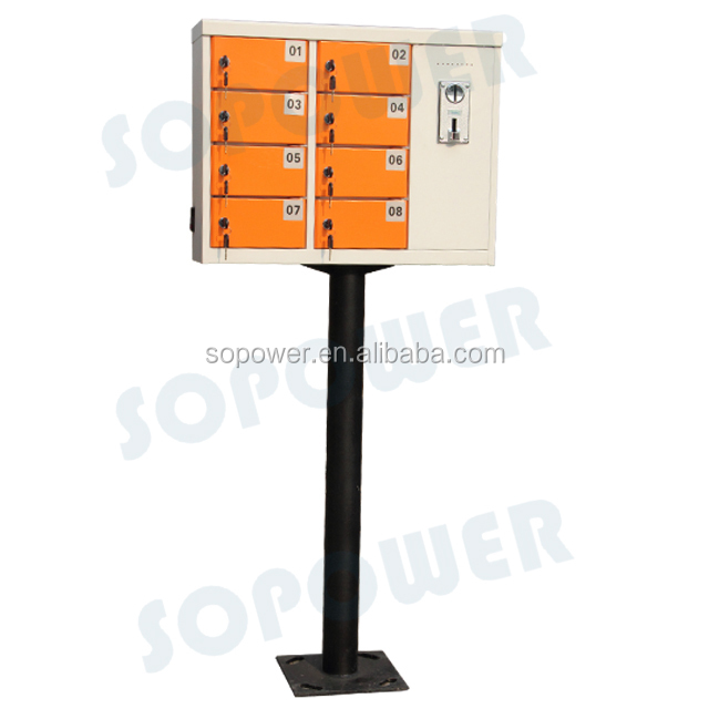 Outdoor battery charger coin operated solar mobile phone charging station with 8-bay doors