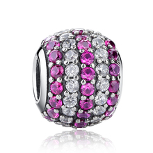 Hot Seller Genuine 925 Sterling <strong>Silver</strong> Purple&Clear AAA CZ Round Charm Bead Fit European Bracelet
