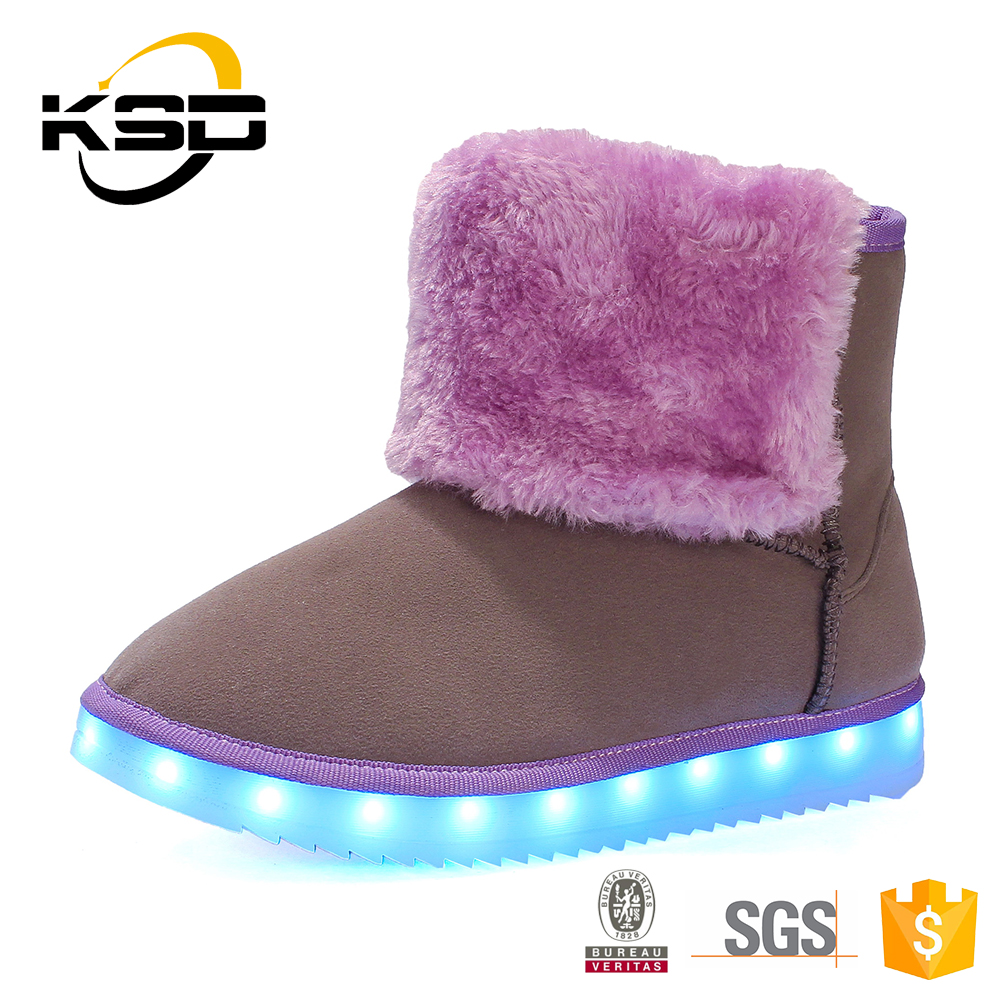 Simple Ladies Warm Snow Boot Light Up Led Women Boots