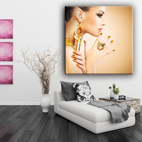 Beautiful girl picture polyester material glitter canvas painting