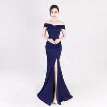 ZH0167X New sexy elegant long off shoulder sleeveless fish tail women evening dress