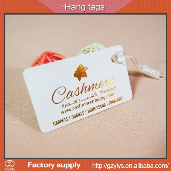 Professional recycled paper personalized custom swing tags for bags