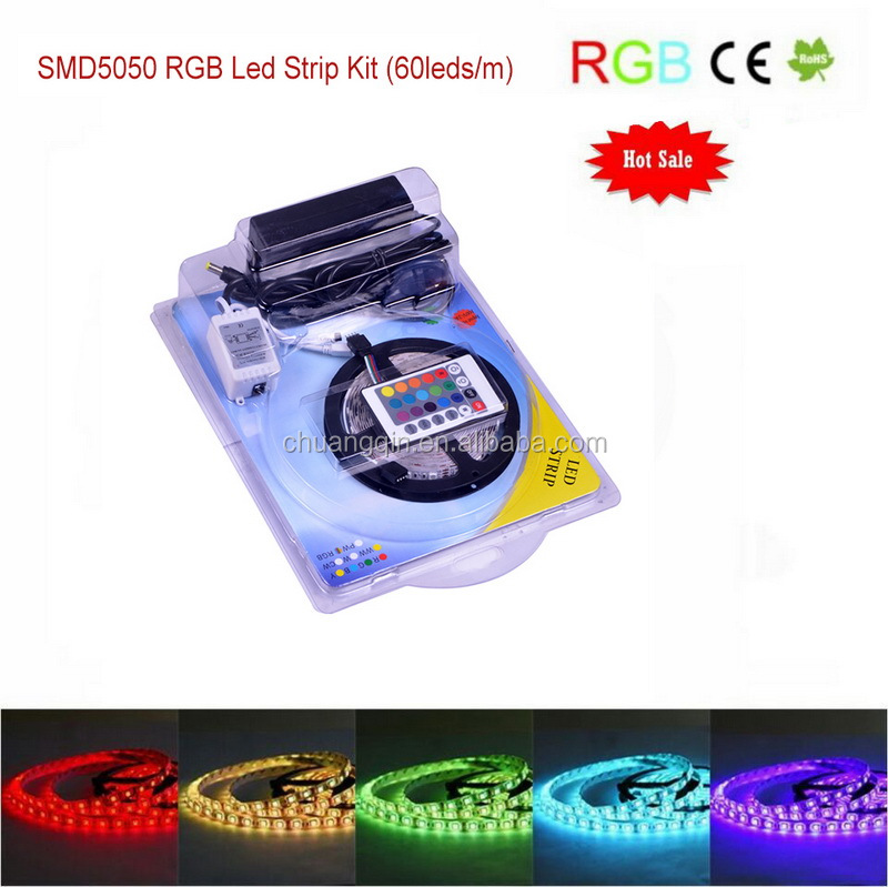 Waterproof 5M 5050RGB Led Strips Lighting Full Kit With 24Key IR Remote