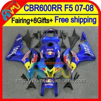 8Gifts Blue red Injection For HONDA CBR 600RR 07 08 48HM92 CBR600 RR 600 RR 07-08 F5 CBR600RR 2007 2008 Fairing Blue yellow