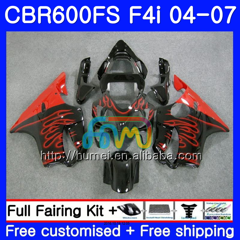 Body For HONDA CBR600F4i CBR600 F4i 2004 2005 2006 2007 Red flames 3HM101 CBR 600F4i FS CBR 600 F4i 04 05 06 07 Fairing black