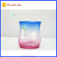 classic crackle colorful red blue glass toothbrush holder
