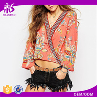 2016 Guangzhou Shandao OEM New Fashion Women Spring Vintage Printed Long Sleeve V Neck Wrap Chiffon Different Style Of Blouses