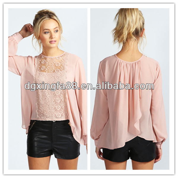 2014 New Style Long Sleeve elegant lace tops blouses
