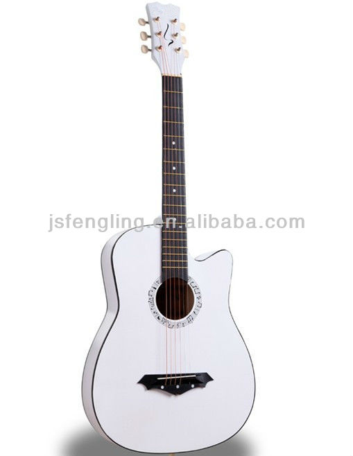 cheapest hot-selling 38'' white acoustic guitar