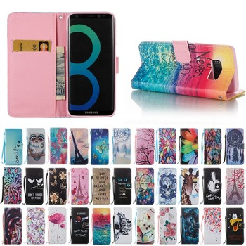 Cheap price case mixed pattern leather filp cover for Samsung Galaxy S8
