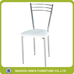 Economical cheap metal chromed dining chairs with PU leather top
