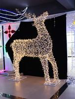 LED lighted up X'mas motif reindeer white